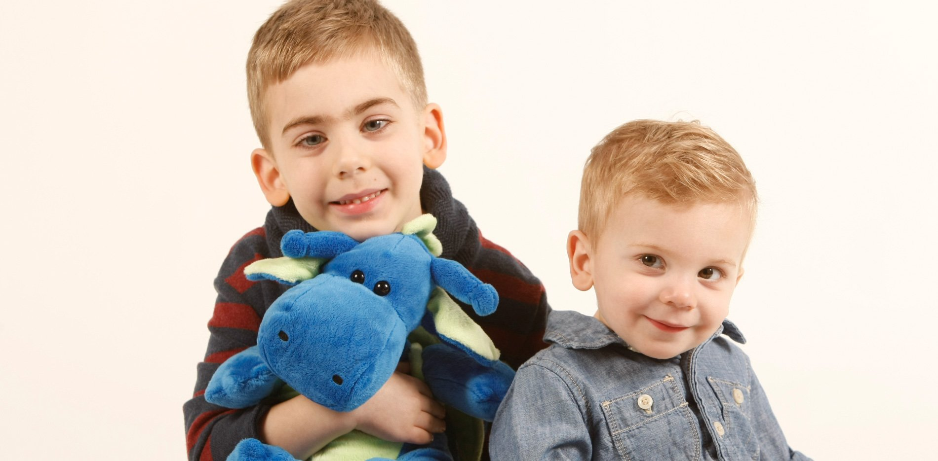 Two boy patients with stuffed toy