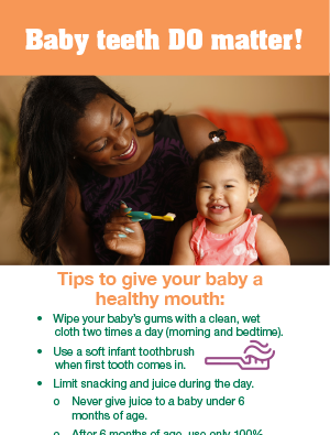 Baby teeth matter poster – English and Spanish